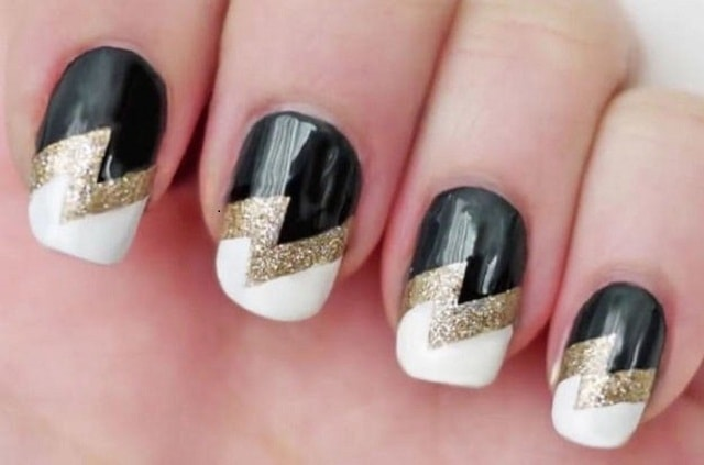 Black Golden&white-simple nail art