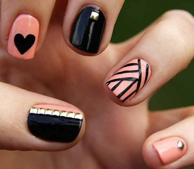 Black&Light-Orange-nail-art-ideas