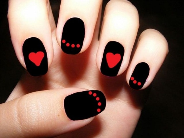 Black&Red Matte-easy nail art