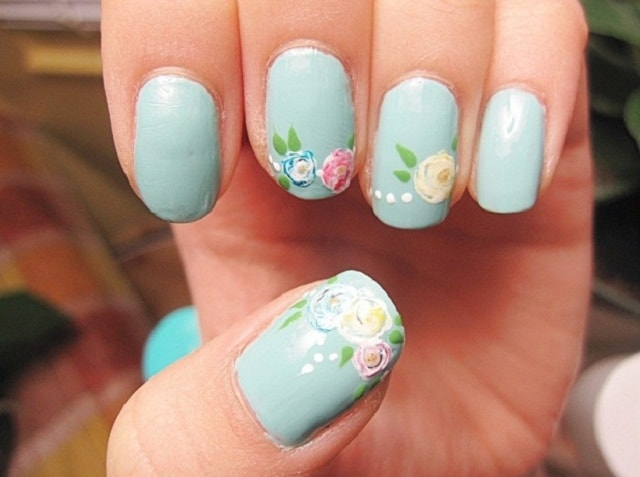 Light Blue-easy nail polish designs