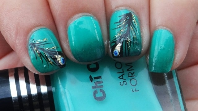 Light Sea Green&Black-nail polish designs