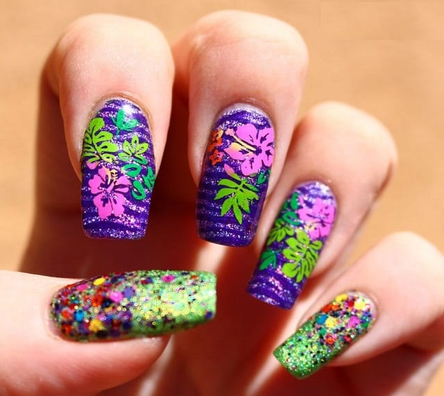 Multi-Flower-nail-polish-designs