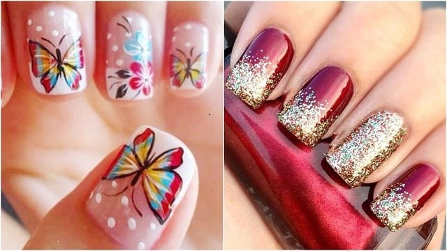 butterfly-Red&Golden-nail art designs